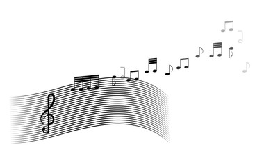 Musical clef, notes and wavy lines in black on a white background. vector. illustration