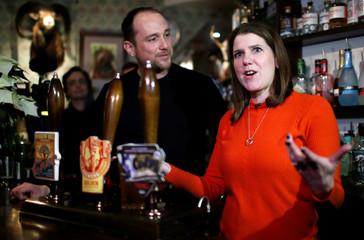 Britain's Liberal Democrats leader Jo Swinson campaigns in St Albans