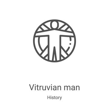 vitruvian man icon vector from history collection. Thin line vitruvian man outline icon vector illustration. Linear symbol for use on web and mobile apps, logo, print media
