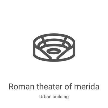 roman theater of merida icon vector from urban building collection. Thin line roman theater of merida outline icon vector illustration. Linear symbol for use on web and mobile apps, logo, print media