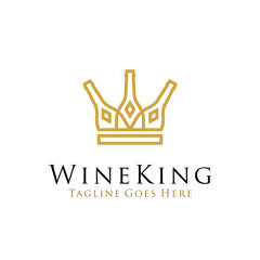 wine king logo design vector illustration. line art wine bottle icon as crown concept design. beverage logo, bar, cafe, restaurant symbol icon