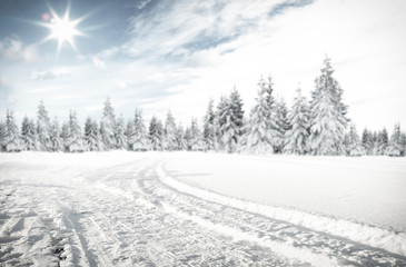 Winter background of road and free space for your decoration. Fotoväggar