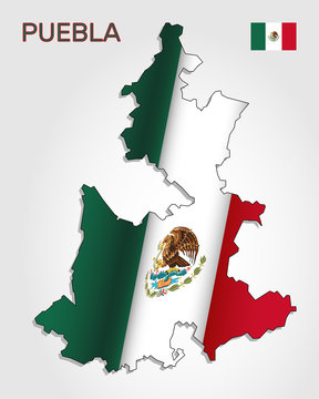 Vector map of Puebla state combined with waving Mexican national flag. Puebla silhouette or borders for geographic themes - Vector
