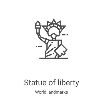 statue of liberty icon vector from world landmarks collection. Thin line statue of liberty outline icon vector illustration. Linear symbol for use on web and mobile apps, logo, print media
