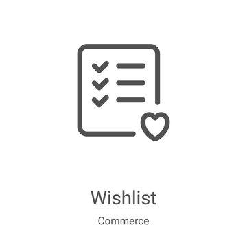 wishlist icon vector from commerce collection. Thin line wishlist outline icon vector illustration. Linear symbol for use on web and mobile apps, logo, print media