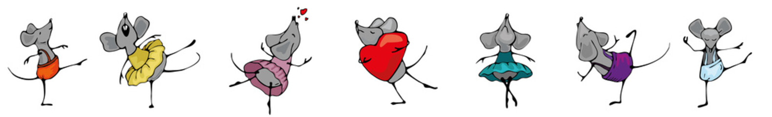 Set the mouse festive seamless background in Valentine's day or postcards to print. Festive birthday frame with dancing mice and hearts. The symbol of the year is a rat with a heart in its paws.