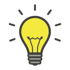 Lightbulb icon. Bulb, lamp simple icon. Idea sign. Vector