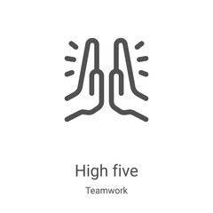 high five icon vector from teamwork collection. Thin line high five outline icon vector illustration. Linear symbol for use on web and mobile apps, logo, print media