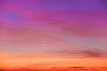 Aluminium Prints Heaven Colorful bright clouds in the sky during sunset or dawn.