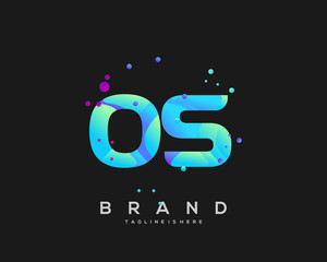 Fototapeta Initial letter OS logo with colorful, letter combination logo design for creative industry, web, business and company. - Vector obraz