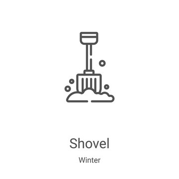 shovel icon vector from winter collection. Thin line shovel outline icon vector illustration. Linear symbol for use on web and mobile apps, logo, print media