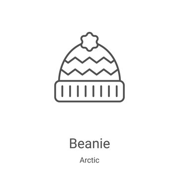 beanie icon vector from arctic collection. Thin line beanie outline icon vector illustration. Linear symbol for use on web and mobile apps, logo, print media