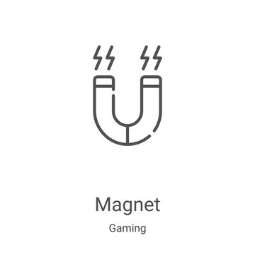 magnet icon vector from gaming collection. Thin line magnet outline icon vector illustration. Linear symbol for use on web and mobile apps, logo, print media