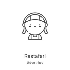 rastafari icon vector from urban tribes collection. Thin line rastafari outline icon vector illustration. Linear symbol for use on web and mobile apps, logo, print media
