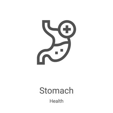 stomach icon vector from health collection. Thin line stomach outline icon vector illustration. Linear symbol for use on web and mobile apps, logo, print media