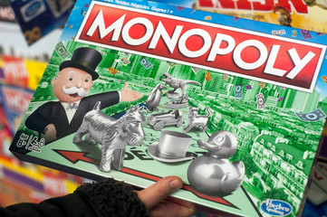 Mulhouse - France - 7 December 2019 - Closeup of monopoly box in a toy store supermarket