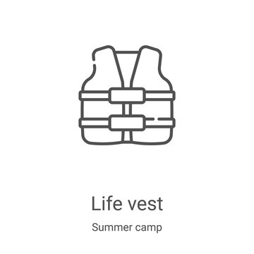 life vest icon vector from summer camp collection. Thin line life vest outline icon vector illustration. Linear symbol for use on web and mobile apps, logo, print media