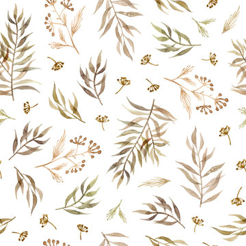watercolor branches, leaves and herbs. hand painting seamless pattern on a white background