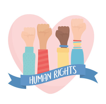 human rights, hands raised in fist love heart strong