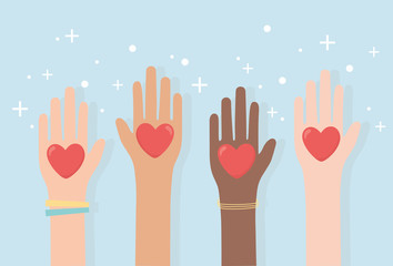 human rights, raised hands diversity with hearts love
