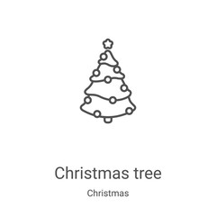 christmas tree icon vector from christmas collection. Thin line christmas tree outline icon vector illustration. Linear symbol for use on web and mobile apps, logo, print media