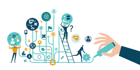 Business people trying get own place in business in the modern internet environment. Hightech electronic, microchips, icons and communication symbols at the background. Business concept illustration.