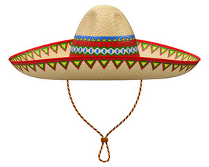 Mexican sombrero hat isolated on white background - 3D illustration