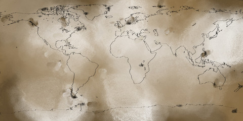 Weathered Ancient Map of Earth