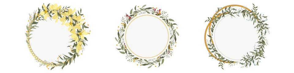 Bohemian  romantic decor, vintage botanical composition for invitation greeting cards.Big set.