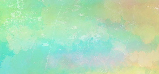 Blue green watercolor background in Easter or spring colors with grunge texture in abstract sunrise or sunset sky painting