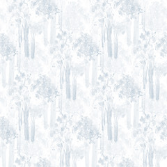 Monochromatic Watercolor Delicate Trees Seamless Background