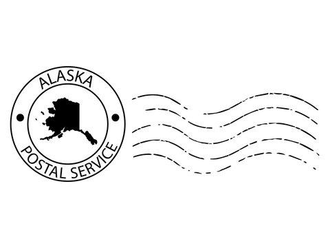 Alaska postal stamp Vector illustration Eps 10
