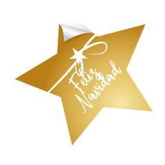 feliz navidad, Goldener Sten mit weißer Hand und Schleife