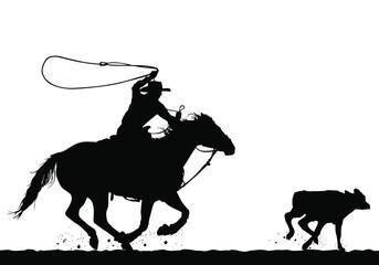A vector silhouette of a cowboy riding a horse roping a calf.