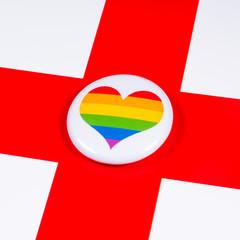 LGBTQ Rainbow Heart and England Flag