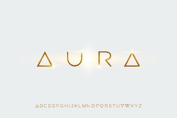 Obraz aura, a modern sans serif alphabet display font. minimalist typography design - fototapety do salonu