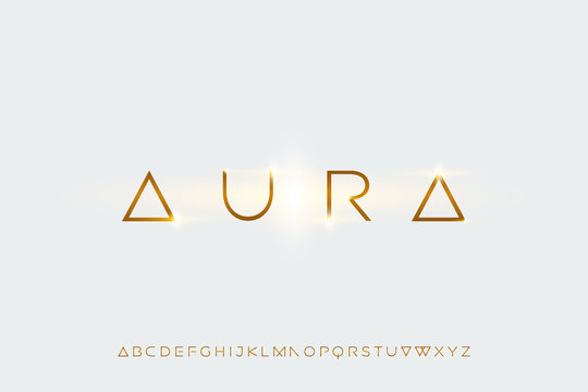 aura, a modern sans serif alphabet display font. minimalist typography design