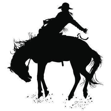 Vector silhouettes of a cowboy riding a bucking bronco horse.