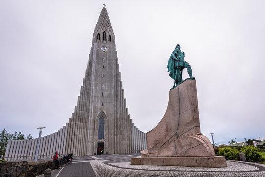 Reykjavik, Iceland - June 24, 2018: Leif Erikson monument on a square in front of Hallgrimskirkja church in Reykjavik
