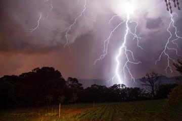 Foto op Plexiglas Zalm Lightning in brazilian thunderstorms.