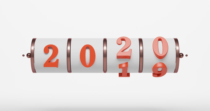 3D rendering of New Year concept. Slot background of 2020 number for changing the year. Abstract minimalist mockup