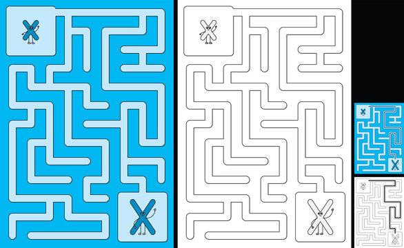 Easy alphabet maze - letter X