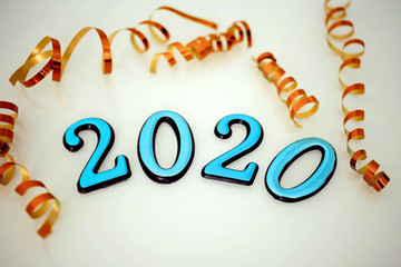 Blue color 2020 numbers on a white background. Symbol of the new year .