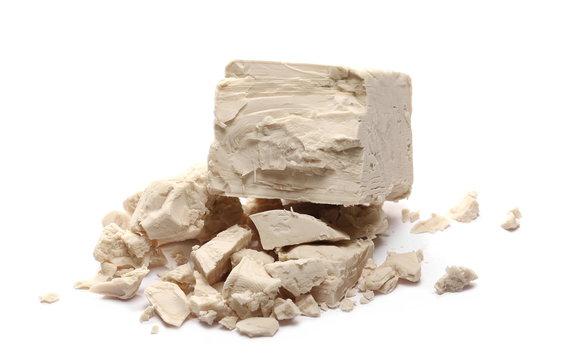 Fresh yeast isolated on white background