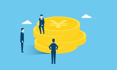 お金とビジネスマンのイラストイメージ