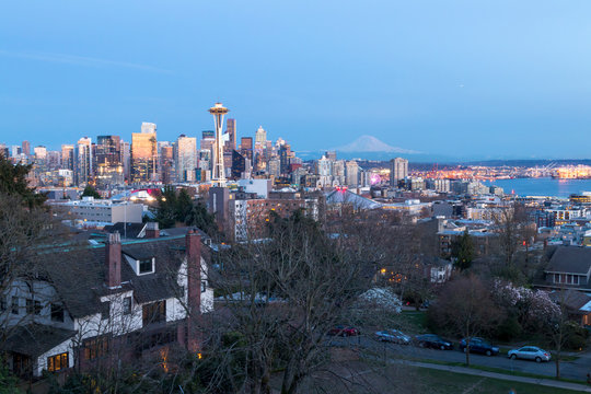 Seattle, Washington USA America seen from Kerry Park and Mt. Rainier far in the distance.