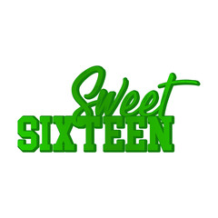Sweet Sixteen typography illustration - VECTOR