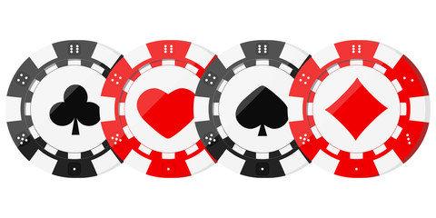 Poker chips with card suits hearts, spades, diamonds, clubs in horizontal row.