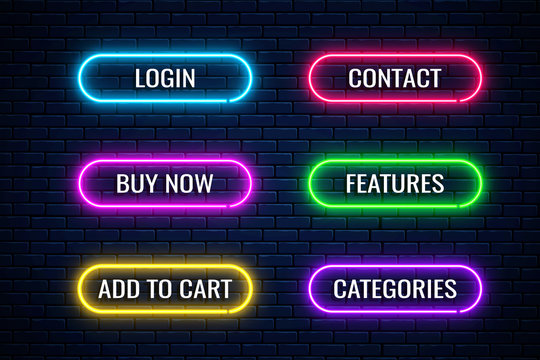 Glow neon buttons for internet store design. Set of website shop button. Vector shiny design elements