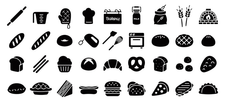 Bread and Bakery Icon Set (Flat Silhouette Version)
